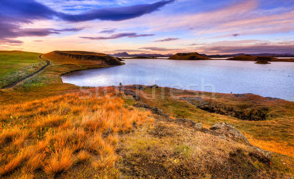 Sunset at Lake Myvatn Stock photo © alexeys