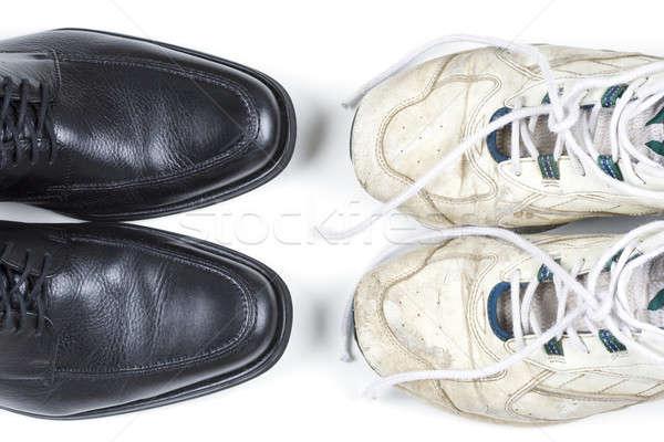 üzlet lezser kettő cipők fekete fehér Stock fotó © alexeys