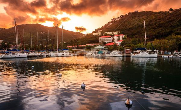 Coucher du soleil marina voiliers britannique Îles Vierges nuages Photo stock © alexeys
