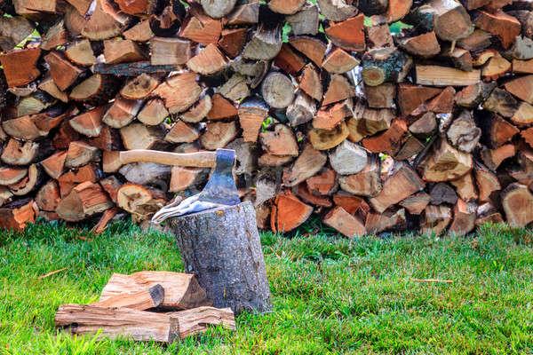 Tűzifa balta boglya fű munka szerszám Stock fotó © alexeys