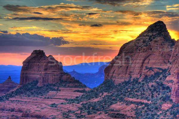 Rouge roches coucher du soleil Arizona hdr image Photo stock © alexeys