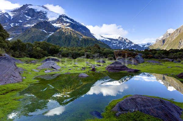 山 反射 雪 小 プール 雲 ストックフォト © alexeys