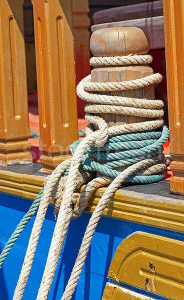 Mooring bollard with ropes Stock photo © alexeys