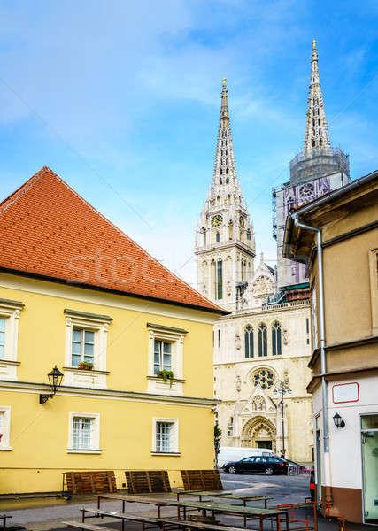 Zagreb ciudad centro vista catedral mercado Foto stock © alexeys