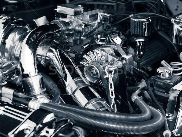 Coche motor imagen compartimiento clásico muscle car Foto stock © alexeys