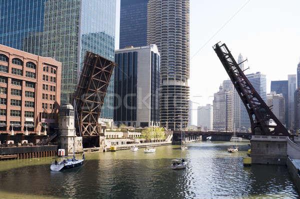 Rajz hidak Chicago belváros égbolt víz Stock fotó © alexeys