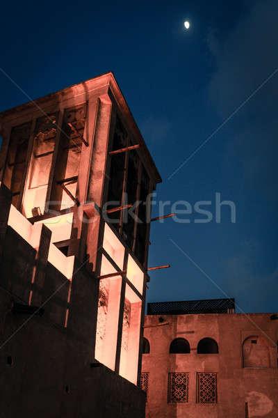 Moon over old Dubai Stock photo © alexeys