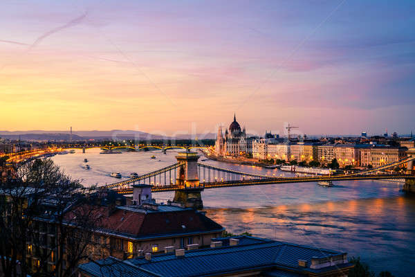 Budapest and the Danube River after sunset Stock photo © alexeys