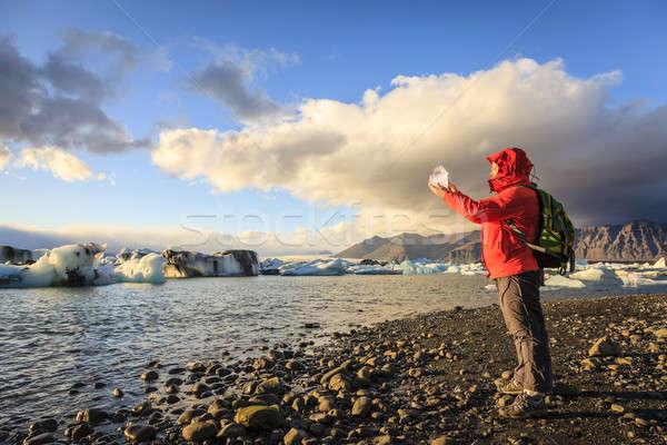 ледник льда женщину кусок природы Сток-фото © alexeys