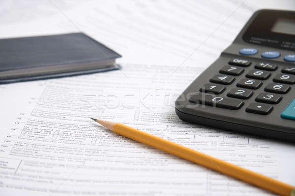 Dosya hazır başlatmak doldurma vergi form Stok fotoğraf © alexeys