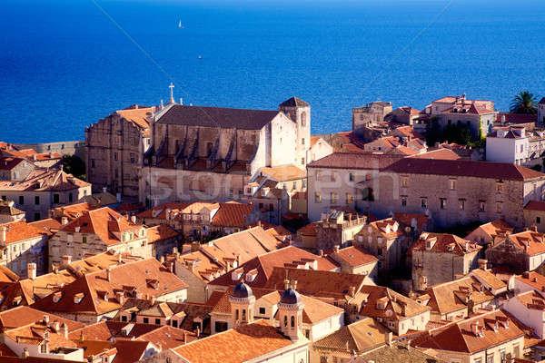 Tetők Dubrovnik kilátás öreg történelmi város Stock fotó © alexeys