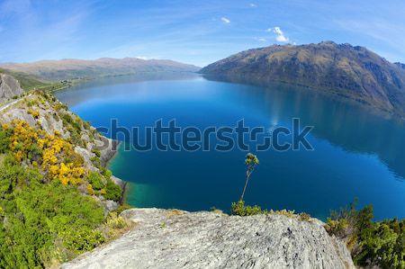 горные озеро рыбий глаз изображение гор Новая Зеландия Сток-фото © alexeys
