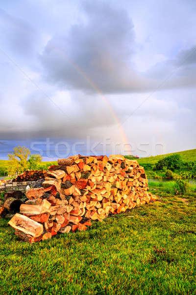 Yakacak odun gökkuşağı gökyüzü bulutlar Stok fotoğraf © alexeys