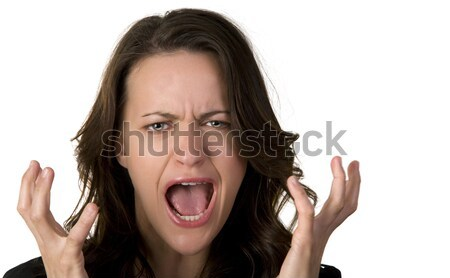 Urlando donna angoscia isolato bianco ritratto Foto d'archivio © alexeys