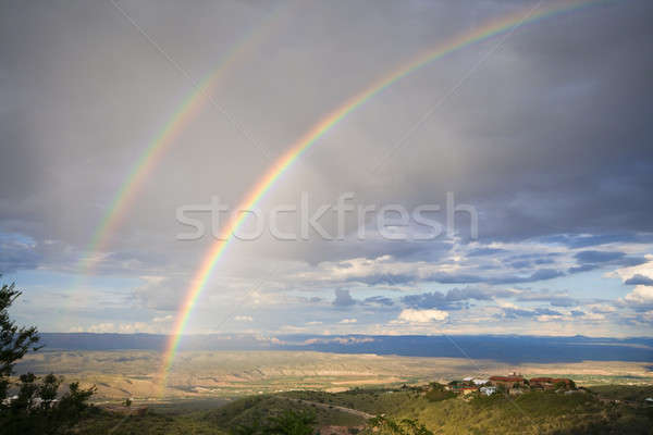 Arco iris doble valle Arizona cielo naturaleza Foto stock © alexeys