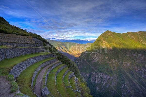 Machu Picchu Peru hdr görüntü bulutlar şehir Stok fotoğraf © alexeys