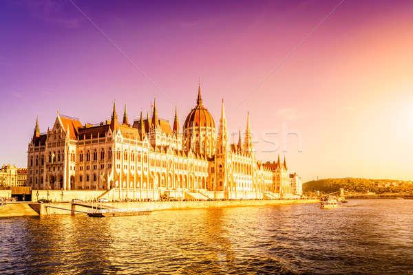 Hongrois parlement bâtiment Budapest célèbre banque Photo stock © alexeys