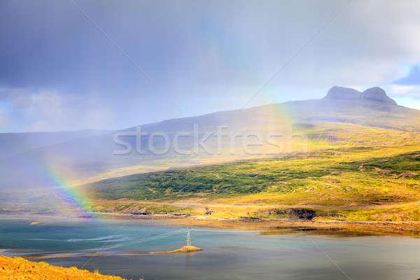 Chuva cênico ver rainbows grama montanha Foto stock © alexeys