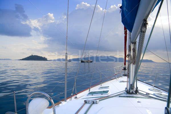 ストックフォト: 方法 · セーリング · セイシェル · 島 · 空