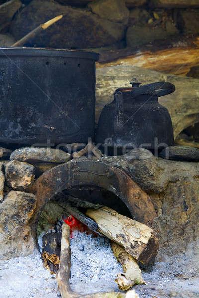 Pots on the stove Stock photo © alexeys