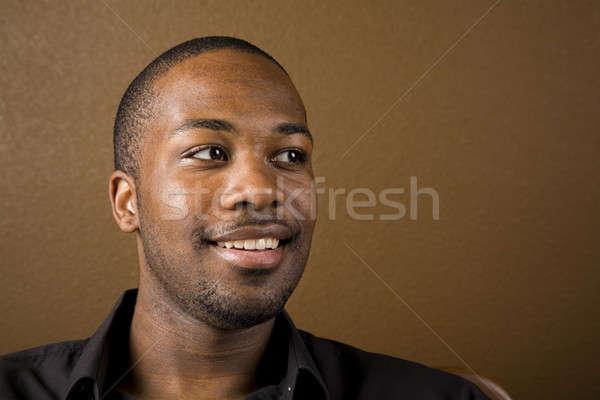 Mutlu siyah adam portre yakışıklı genç karanlık Stok fotoğraf © alexeys