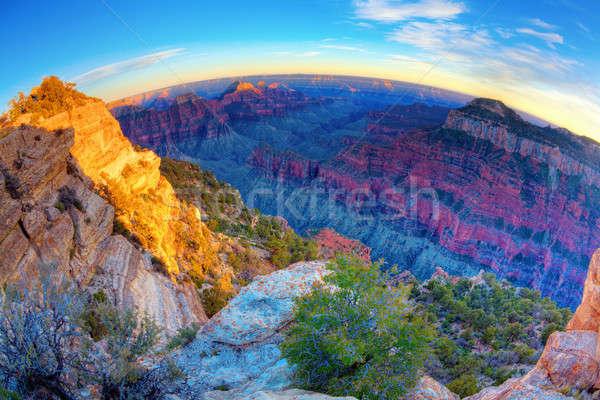 Grand Canyon fisheye view tramonto cielo blu Foto d'archivio © alexeys