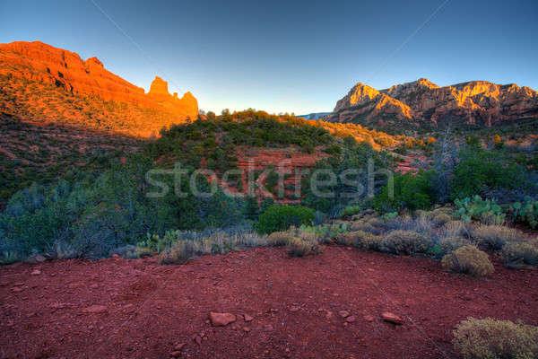 Stock fotó: Arizona · piros · kövek · gyönyörű · kilátás · naplemente