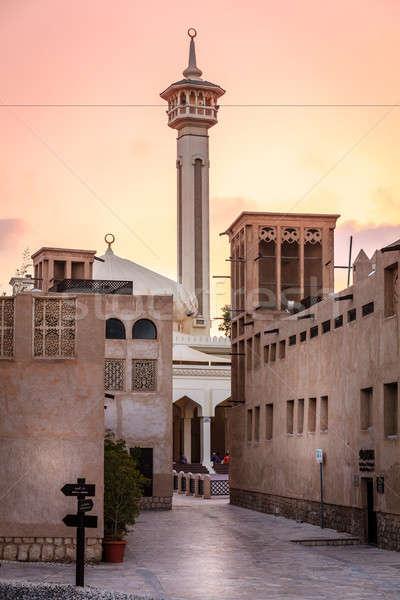 Moschea Dubai view quartiere nubi strada Foto d'archivio © alexeys
