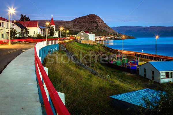 Halászat város kicsi Izland éjszaka víz Stock fotó © alexeys