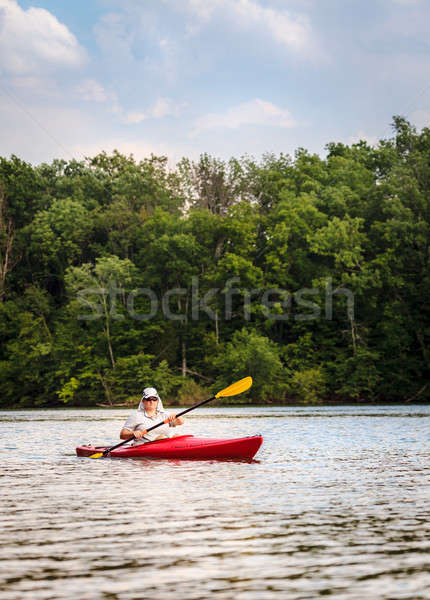Kajakozás tó nő kicsi központi Kentucky Stock fotó © alexeys
