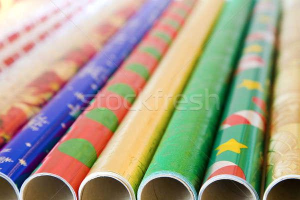Csomagolópapír tekercsek színes év ajándékok terv Stock fotó © alexeys