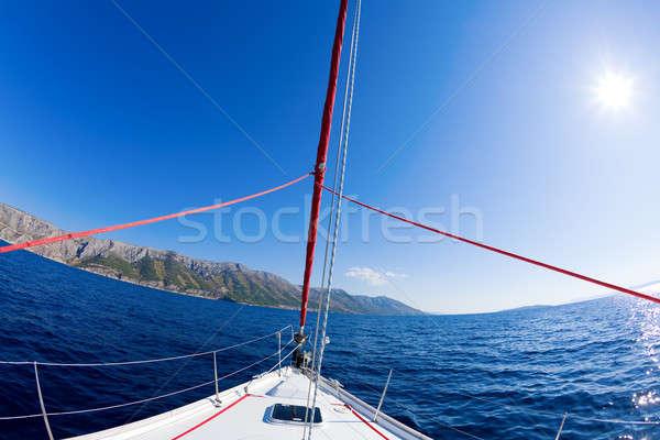 Vitorlázik kaland halszem kép íj vitorlás Stock fotó © alexeys
