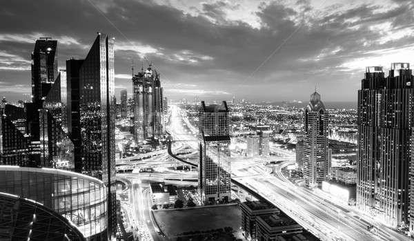 Dubai csúcsforgalom madarak szem kilátás sziluett Stock fotó © alexeys