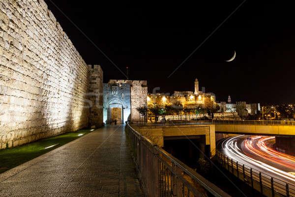 ворот Иерусалим мнение стены ночь город Сток-фото © alexeys