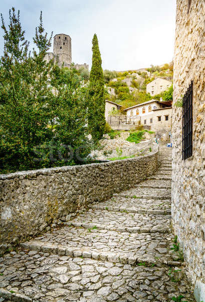 Middeleeuwse straat klein stad reizen Stockfoto © alexeys
