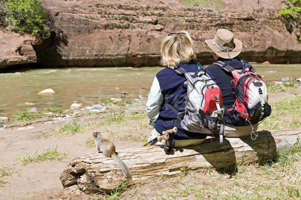 Aktywny emeryturę para cieszyć się widoku rzeki Zdjęcia stock © alexeys