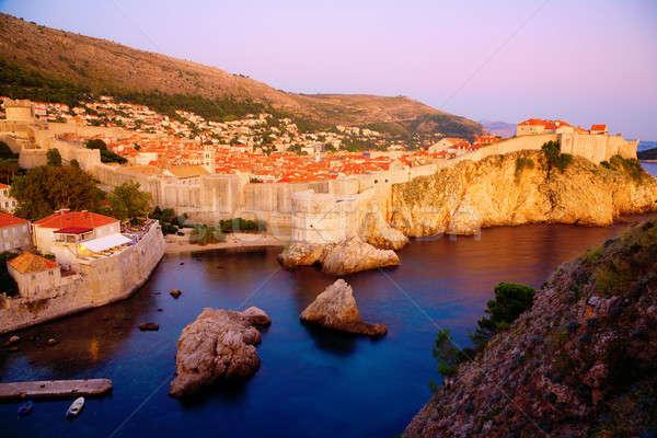 Dubrovnik kilátás öreg város fal víz Stock fotó © alexeys