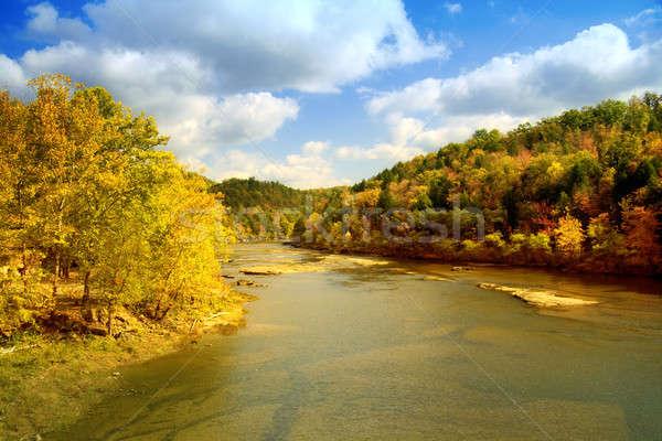 Stockfoto: Rivier · landschap · schilderachtig · vallen · hemel