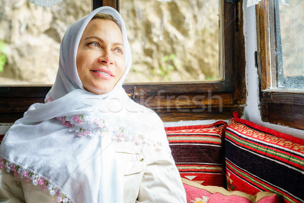 Nő fejkendő portré visel hagyományos kolostor Stock fotó © alexeys