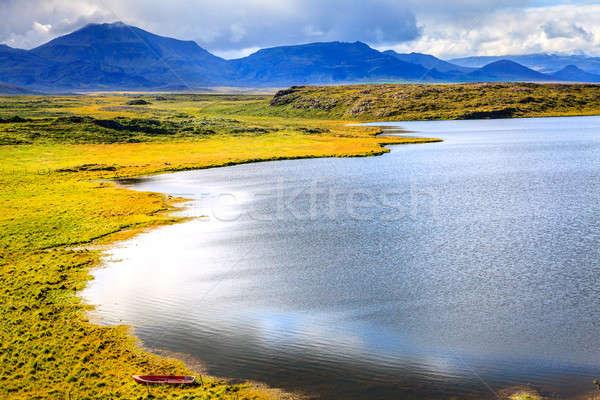 Landscape with row boat Stock photo © alexeys