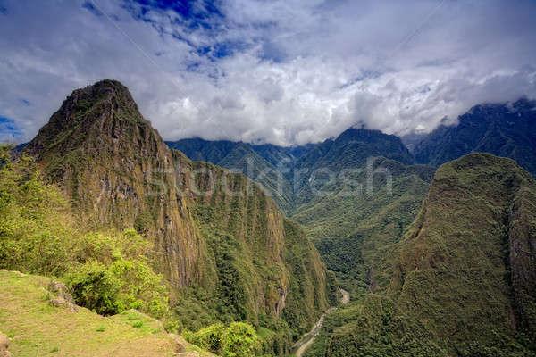 Machu Picchu bulutlar dağlar Peru gökyüzü Stok fotoğraf © alexeys