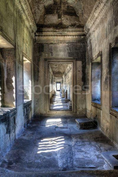 Angkor Wat galeri içinde bir Bina kaya Stok fotoğraf © alexeys
