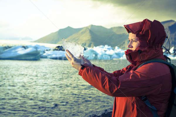 Geleira gelo mulher peça céu Foto stock © alexeys