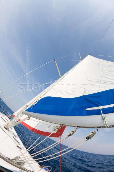 Omhoog fisheye boeg zeilboot hemel Stockfoto © alexeys