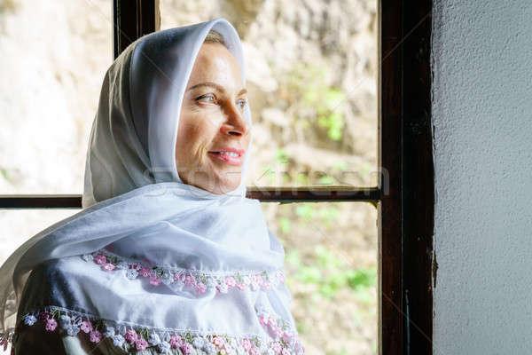 Stockfoto: Vrouw · hoofddoek · portret · traditioneel · klooster