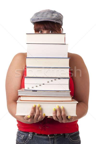 Tudományos rakomány főiskolai hallgató hordoz nehéz boglya Stock fotó © alexeys