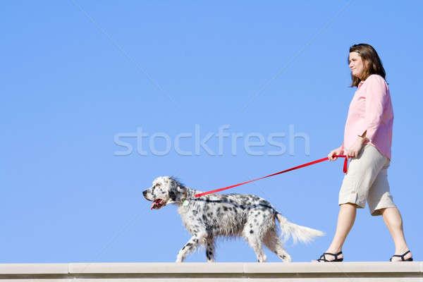 Girl with the dog Stock photo © alexeys