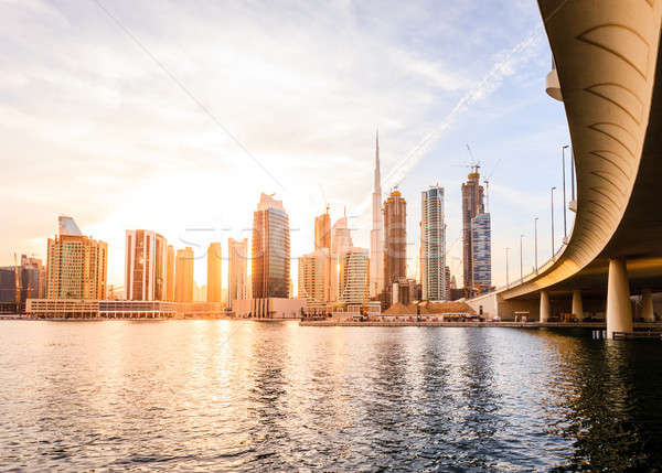 Dubai centrum skyline schilderachtig zonsondergang Stockfoto © alexeys