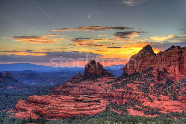 Stockfoto: Rood · rotsen · zonsondergang · Arizona · hdr · afbeelding