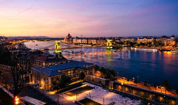 ブダペスト ドナウ川 川 日没 美しい 表示 ストックフォト © alexeys